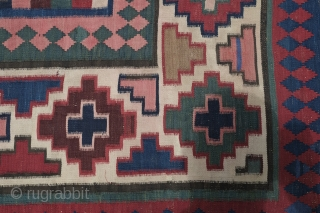 Armenian Karabagh Kilim, late 19th century.  All beautiful natural colors in a geometric architectural design.  The weaver may possibly have been inspired by the artistry of a building facade.   ...