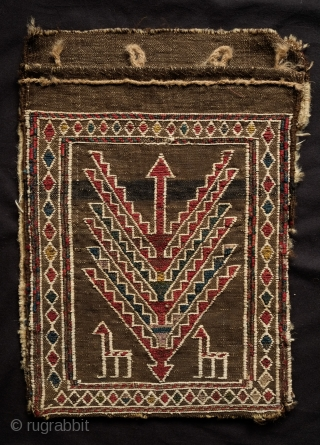 Shahsavan khorjin. Late 19th Century. Two bags. Ancient tree of life design with protective birds and animals.  1st bag is 28 x 38 cm (full lenght with back opened is 80  ...