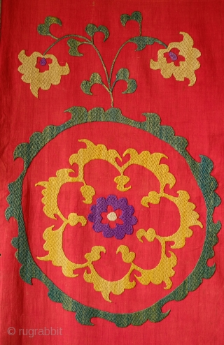 Samarkand Double-sided Suzani, End of 19th Century.  The embroidery work is fine, tight and compact is remarkable for being stitched on both sides of the red fine cotton ground cloth.   ...