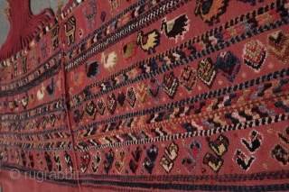 Qashqai Horse Cover, Late 19th Century, Good colors and chickens, Maximum length and width 163 cm X 52 cm.