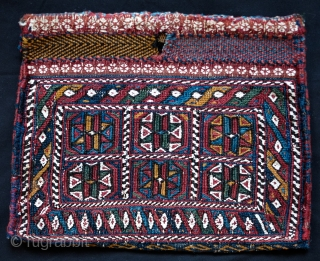 Afshar chanteh.  Late 19th Century.  Absolutely fabulous colors, five of them plus white cotton highlights, and in great condition. The tiny flowers in white across the top band are finely  ...