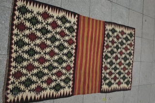 Shirvan mafrash panel, in very good condition.  Colors are rich with a mellow apricot, a soft saturated pink, an emerald green, a purple-brown and a lush non-corrosive black.  97 cm  ...