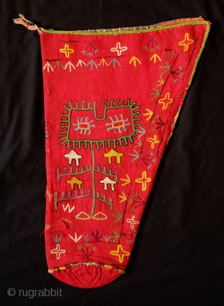 Kungrad Ceremonial Quiver, 1900 or earlier. Human-like figure on each side.  All wonderful colors with a little running in some of the purple.  From North Afghanistan with a wonderful Turkmen  ...