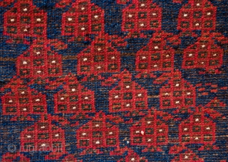 Baluch Balisht Face, Late 19th Century.  Wonderful full pile in soft wool.  Repeat boteh design.  47 x 78 cm