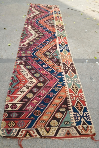 Reyhanli-Malatya long kilim, one side only. Fourth quarter of 19th century. Vivid colors, great condition and full of bold minor graphics.  Small hole in the last image.   400 X  ...