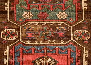 Bergama, possibly Karakecili, likely 18th century probably towards the last third.  Fantastic colors with a deep yellow green and a dark dark purple.  The rug is original with nothing cut,  ...