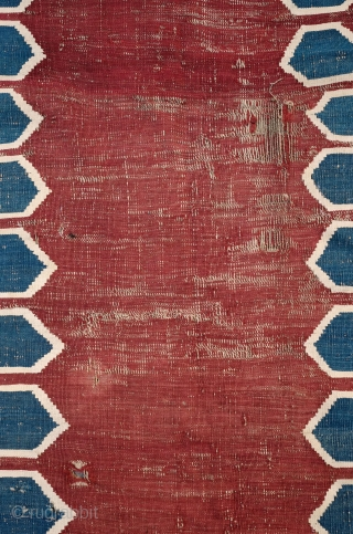 Caucasian Door Kilim - Kapilik, 3rd to 4th Quarter of 19th Century. The piece is complete but with some worn areas. All natural colors.  Currently unwashed.  Reasonably priced. 105 x  ...