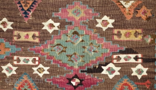 Adana-Aleppo Kilim, 2nd to 3rd Quarter of the 19th Century.  Thin weave. Excellent colors: Greens, purples, indigo, cochineal, Turkey red-like red.  Absolutley wonderful side borders of meandering vines and flowers.  ...