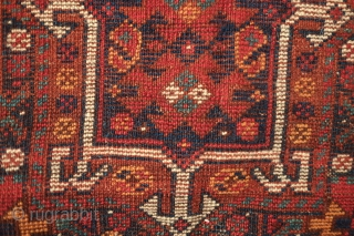 Khamseh Khorjin, late 19th century.  A fantastic bag with almost all tassels in tact.  Colorful and rich extra wrapping along the center.  The wool is lustrous.  In about  ...