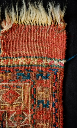 Shahsavan Kurdish Group Soumak Bag Face, Mid-19th Century.  In a less common diagonal weft-wrapping technique.  Excellent composition in a five medallion arrangement and a white highlighted border.   Some  ...