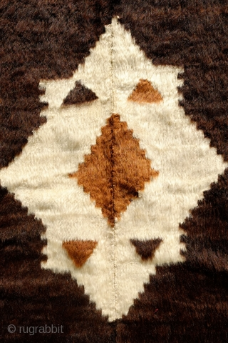 Siirt Blanket/Mohair Rug, Early 20th Century. Rare four panel type in chocolate brown mohair.  Wonderful 8-pointed star design.  Mosque-like motifs along the sides.  An older and very nice example.  ...