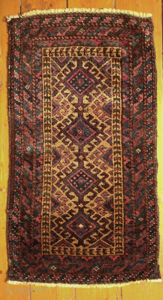 Baluch Balisht face, late 19th century.  All great colors and camel wool in the field. Lustrous, silky wool.  A touch of silk in the medallion depicted in the first image  ...