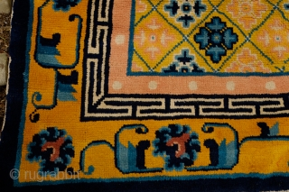 Pao Tao Rug, Late 19th/Early 20th Century.  Soft wool and soft colors: pink, yellow, blue in a contrasting arrangement.  A beautiful decorative rug.  132 x 233 cm.