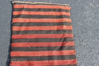 Antique Caucasian Karabagh (Qarabagh) soumak (soumac, sumac) half khorjin, 19th century, complete with striped flat-woven back.  All dyes natural.  Please ask for additional photos if needed.