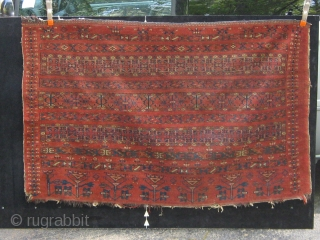 Ersari? Beshir? large banded chuval, Middle Amu Darya, 19th century, all dyes natural, complete, unusual vertical bands on each side.  Please ask for additional photos etc. Fresh from a Florida estate.