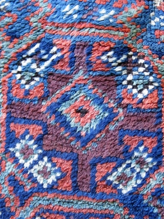 Antique symmetrically knotted Baluch prayer rug with a lovely palette of aubergine and blue (four shades including blue-green), all dyes natural, floppy handle.  Some of the original flat weave is still  ...