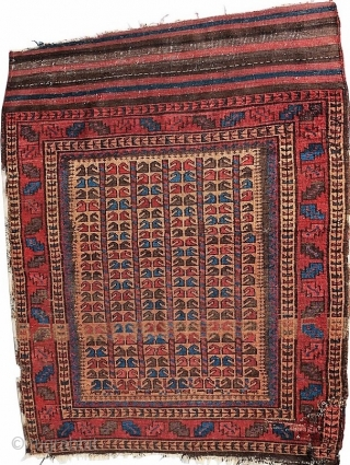 Interesting antique Baluch carpet, last quarter of the 19th century.  All dyes appear natural.  Floppy handle, fine weave.