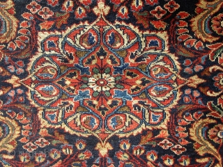 "Antique Persian Lilihan, circa 1910-1920. 57"" by 45"".  Navy blue field, not a painted rug, with dyes that appear natural including rose, green, pale blue, pale brown, etc.  Overall good  ..."