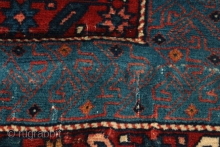 """Baby turtles racing to the sea...Velvety and near pristine Alpan Kuba, circa first quarter of the 20th century.  All original.  43"""" by 64""""."""