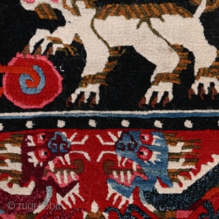 Snow lions and dragons.  Tibetan saddle cover, early 20th century.  Beautiful graphics.  Priced to sell quickly.