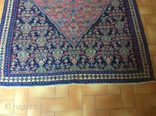 Kurd Seneh kilim end XIXth, narrow borders, one old repair center left, very thin weaving, clean, very good colours.