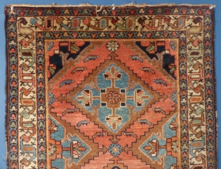 """This is an old Hamadan. It measures 70"""" X 43"""". It shows a little wear but no holes, tears or stains. It has been washed. Please ask for more info, pictured and best price."""