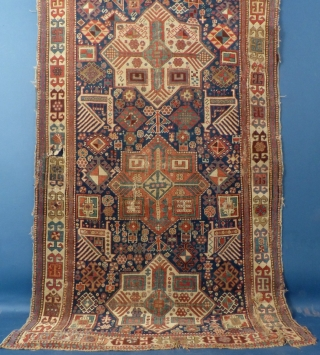 """Caucasian Akstafa, c. 1875-90, Well worn with bad repairs, 111"""" X 51"""" Email me for more pictures, info. and price ddbstuff@aol.com"""