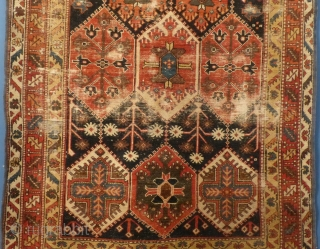"Baktiari, Late 19th Century, Worn, sides trimmed, ends frayed, 82"" X 46"".