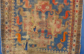 """Antique Chondzoresk or Cloudband Kazak Fragment, 100"""" X 53"""", WORN, Holes etc. It has been washed.  SOLD"""