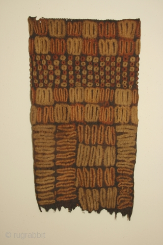 Africa: woman's tubular garment of resist dyed rafia fiber, each side 20 x 30 inches (51 x 100cm) Dida tribe, Ivory Coast, circa 1900, with some wear and losses.