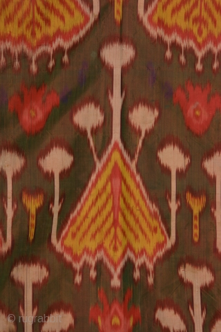 Uzbek woman's dress with resist dyed silk warps and red silk wefts. Dimensions: 69 inches across the shoulder and 50 inches high (175 x 127cm), late 19th century. Uzbek ikat dresses are  ...