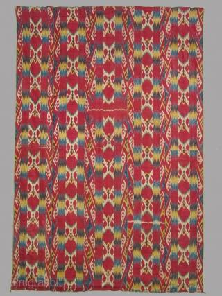 Wallhanging, Uzbek, Bokara,silk warp cotton weft, original printed cotton lining, 57 x 82 inches ( 140 x 208 cm ), 19th century. Big price reduction.