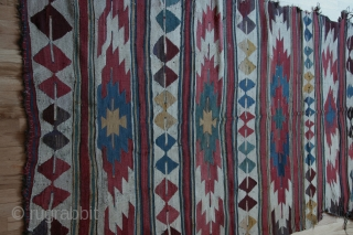 Anatolian kilim, Mut, 58 x 94 inches (148 x 239cm), I believe most Mut kilims are not very old( 19th-20th century). This example seems older and more interesting to me than most:  ...