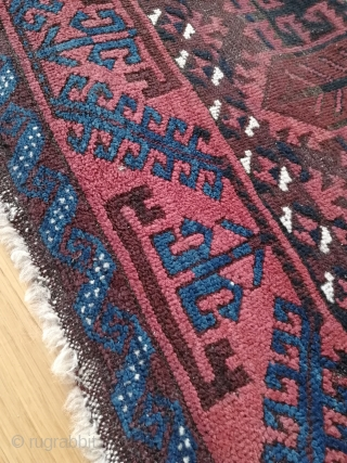 """Antique Belutch, Timuri tribe, ca 1915   Technical summary  Object: Belutch rug, woven by the Timuri tribe.   Manufacturing area: Khorrassan.   Pattern: Hexagons. Beluchism. : ) """"Pencil pattern""""     Size: 219 x 102 cm.   Knots:  ..."""