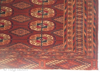 This is a fine turkmen rug with all natural colors. It is in a very good condition all over and full pile; no repair and nothing missing.