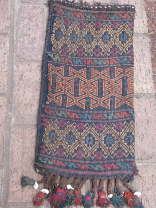 This is the only spindle bag that I have ever seen in this tribe(imaq),a nice old flat weave oaq bash with good colors