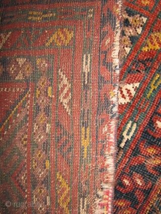 Bashiri turkmen prayer rug sides and lower portion are secured with old flat weave tent robe