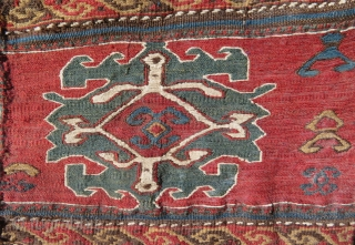 ANTIQUE SHAHSAVAN BAG FRAGMENT. 19.Century  Natural dyes. Sumak embroidery. Very fine work.  55 x 57 cm  To EU, we ship from France: no custom taxes to EU  Shipping to EU at lower cost
