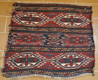 Caucasian (Shahsavan (?))mafraj panels. Two short mafraj panels (apx 40 cmX40cm) dating 100 years roughly. Very elaborate workmanship, all natural dyes, rich pattern with stylized mother goddess and dragon symbols, small damages,  ...