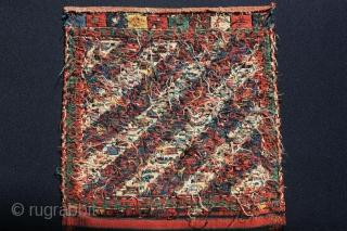 Shahsavan half khorjin. 19th century.  Soumak technique.  Nice colors, fine work, good condition. Size : 51 x 97 cm (20 x 38,2 inches) Sold