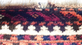 Baluchi rug. Soft sheep wool on goat hair foundation. Finely knotted. Age: Early 20th century Condition: Very good even pile, sides and ends original and secured. Size: 6 ft 10 in X 3 ft 7  ...