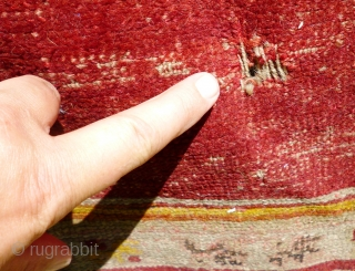 Pair of Antique Turkish Oushak prayer rugs. Distressed condition, dirty and holed in places - see photos. Outer borders missing each end. Selvedges damaged. Foundation showing in places. One tatty corner  Can be  ...