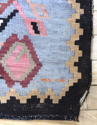 European Balkans ? Kilim. Dated 1932. Wool and Cotton white details. Wear and minor colour run - see photos. Size: 7 ft X 4 ft 4 in2.13 m X 1.32 m