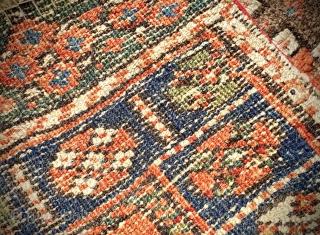 Pair of Kurdish bag faces, uneven wear. Original sides and ends, no repairs. Natural colours. Size: 125cm x 75cm approx.