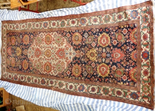 """Large North West Persian 'harshang' Gallery Carpet with large central ivory medallion. Wool on Cotton warps and dark brown wool weft foundation. 19th Century. Size: 6'8"""" x 17' or 2.04m x 5.18m  ..."""