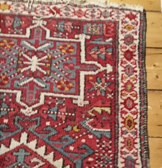 Old Karaja Heriz runner, nice small size: 175 x 65 cm. minor wear and losses in places, sides and ends original. Free postage within UK.