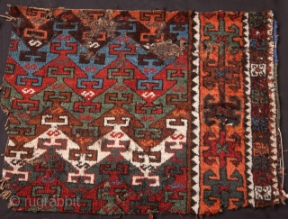 "East Anatolian (Kagizman) Rug Fragment- 2 pieces: 3'5""x3'6""/114x116 cm and 1'9""x2'4""/52x72 cm"