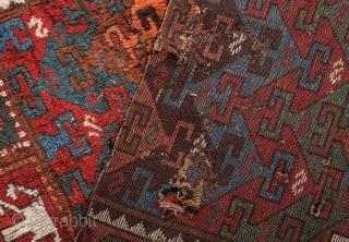 "East Anatolian (Kagizman) Rug Fragment- 2 pieces: 3'5""x3'6""/114x116 cm and 1'9""x2'4""/52x72 cm"