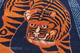 Charming antique Chinese Baotou Tiger rug, ca. 1920. Perfect condition. Ready to go up on the wall again. 152cm x 88cm