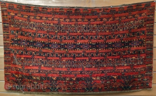 """19th c. large, full pile Turkmen Ersari chuval in mint condition. All vegetal colors including green, yellow and apricot. Size: 36"""" x 63"""""""